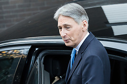 © Licensed to London News Pictures. 19/11/2017. London, UK. PHILIP HAMMOND, Chancellor of the Exchequer leaving ITV Studios after appearing on the 'Peston on Sunday' politics show. Photo credit: Vickie Flores/LNP