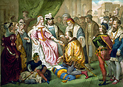Christopher Columbus (1451-1506) Genoese navigator and explorer kneeling before his patrons, Isabella of Castile and Ferdinand II of Aragon. French illustration c1850.