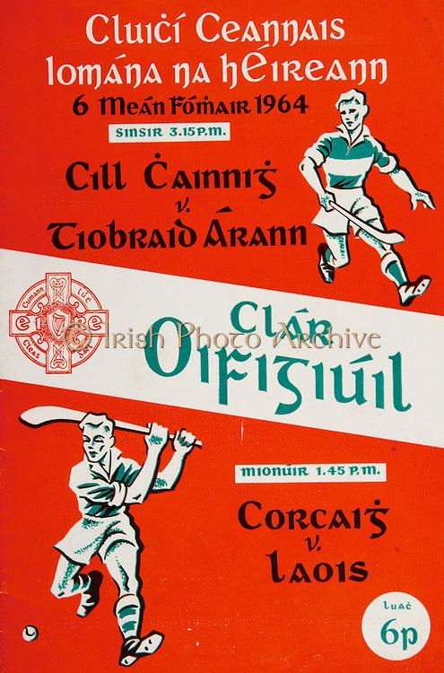 All Ireland Senior Hurling Championship Final,.06.09.1964, 09.06.1964, 6th September 1964,.Minor Cork v Laois, .Senior Kilkenny v Tipperary, Tipperary 5-13 Kilkenny 2-08,.06091964AISHCF,