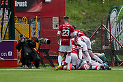 Hamilton&rsquo;s Giannis Skondras is mobbed after scoring the second - Hamilton Academical v Dundee in the Ladbrokes Scottish Premiership at the SuperSeal Stadium, Hamilton, Photo: David Young<br /> <br />  - &copy; David Young - www.davidyoungphoto.co.uk - email: davidyoungphoto@gmail.com