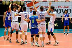 20-09-2013 VOLLEYBAL: EK MANNEN SERVIE - SLOVENIE: HERNING<br /> Vreugde bij Slovenie als zij Servie met 3-1 verslaan<br /> ©2013-FotoHoogendoorn.nl<br />  / SPORTIDA