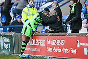 Forest Green Rovers Dale Bennett(6) thanks one of the FGR fans for his support during the FA Trophy match between Macclesfield Town and Forest Green Rovers at Moss Rose, Macclesfield, United Kingdom on 4 February 2017. Photo by Shane Healey.