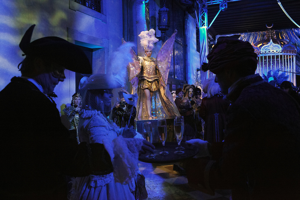 Guests arrive at the Pisani Moretta palace to attend the Ballo del Doge during the carnival in Venice.