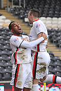 Milton Keynes Dons forward, on loan from Bolton Wanderers, Rob Hall(38) celebrates with Milton Keynes Dons midfielder Antony Kay(6) who scored to go 1-0 up during the Sky Bet Championship match between Hull City and Milton Keynes Dons at the KC Stadium, Kingston upon Hull, England on 12 March 2016. Photo by Ian Lyall.