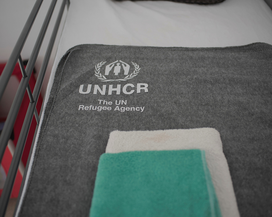 A bunkbed made up with UNHCR bedding in Villa Artemis, a shelter for 30 refugee women and their children in the grounds of Leros Hospital. <br />