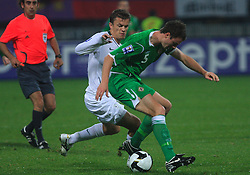 Zlatko Dedic (14) and Jonathan Evans at the fourth round qualification game of 2010 FIFA WORLD CUP SOUTH AFRICA in Group 3 between Slovenia and Northern Ireland at Stadion Ljudski vrt, on October 11, 2008, in Maribor, Slovenia.  (Photo by Vid Ponikvar / Sportal Images)