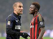© Filippo Alfero<br /> Inter-Milan - Serie A 2013/2014<br /> Milano, 22/12/2013<br /> sport calcio<br /> Nella foto: Sulley Muntari, in primo piano Rodrigo Palacio
