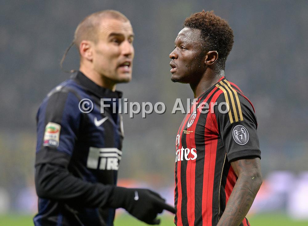 &copy; Filippo Alfero<br /> Inter-Milan - Serie A 2013/2014<br /> Milano, 22/12/2013<br /> sport calcio<br /> Nella foto: Sulley Muntari, in primo piano Rodrigo Palacio