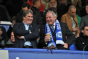Peterborough United's Co owner Stewart Thompson (L) and Director of Football Barry Fry during the EFL Sky Bet League 1 match between Portsmouth and Peterborough United at Fratton Park, Portsmouth, England on 7 December 2019.