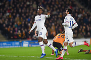 Michy Batshuayi (23) of Chelsea FC scores his team's first goal and celebrates with Pedro (11) of Chelsea FC during the The FA Cup match between Hull City and Chelsea at the KCOM Stadium, Kingston upon Hull, England on 25 January 2020.