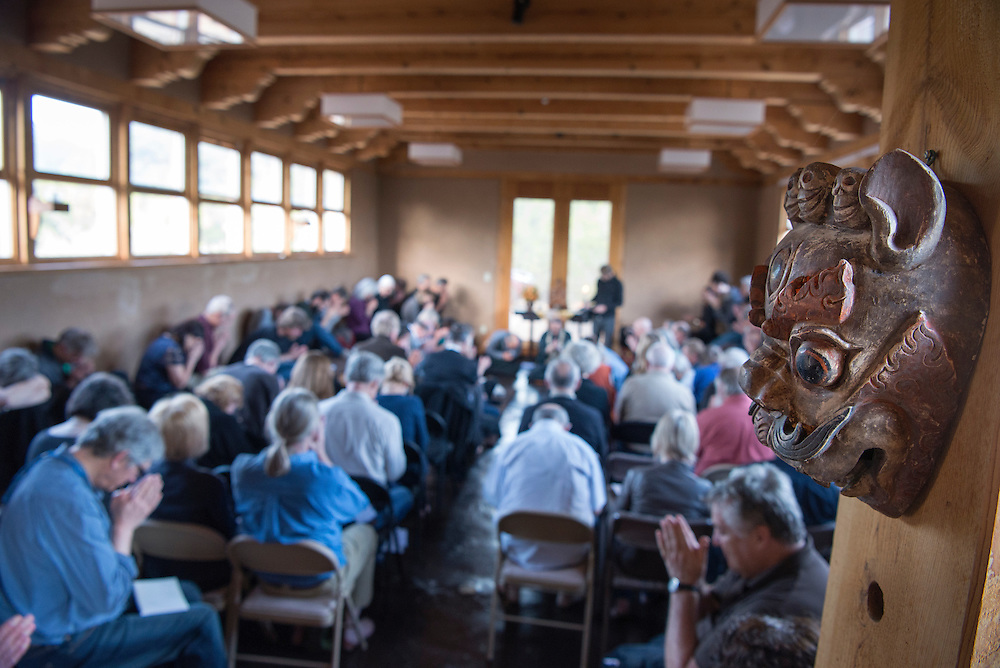 Around 100 people take part in a re-dedication ceremony at the Mountain Cloud Zen Center in Santa Fe, Thursday, May 5, 2016. (Eddie Moore/Albuquerque Journal)