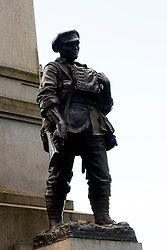 Statue of an enlisted man of the York & Lancaster regiment on the York & Lancaster War Memorial in Weston Park Sheffield<br />