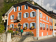 "Hotel Steinbock, Pontresina, in Maloja district, Graubünden (Grisons) canton, Switzerland, Europe. The Swiss valley of Engadine translates as the ""garden of the En (or Inn) River"" (Engadin in German, Engiadina in Romansh, Engadina in Italian)."