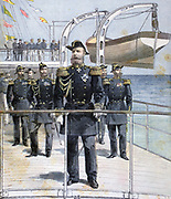 Admiral Avellan, Commander of the Russian Mediterranean Fleet, on the deck of the Russian ironclad 'Emperor Nicholas I' during the fleet's visit to Toulon. From 'Le Petit Journal', Paris, 7 October 1893. France, Russia, Alliance