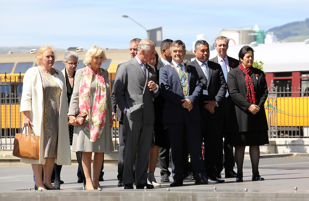 Prince Charles, Prince of Wales and Camilla, Duchess of Cornwall with  Dave Cull, Mayor of Dunedin and other dignatories during their visit to the Dunedin Railway Station, Dunedin, New Zealand, Thursday, November 05, 2015. Credit:SNPA / Getty, Rob Jefferies **POOL**