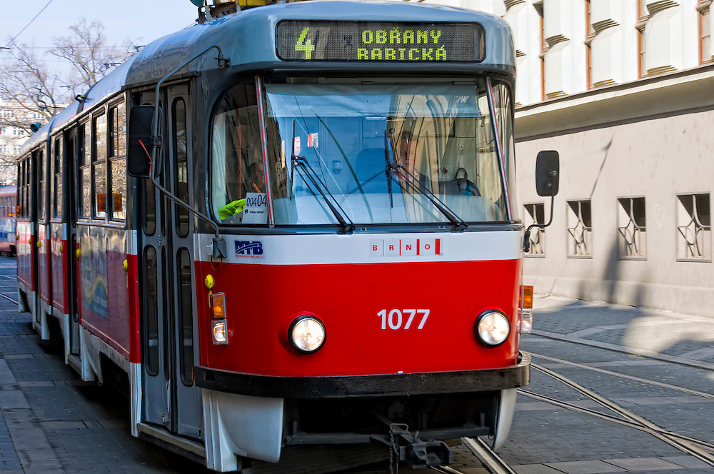 BRNO, CZECH REPUBLIC - MARCH 5th 2011: Photo of typical tramway in the street of Brno. Brno is the 2nd largest city in the Czech Republic.