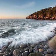 Waves Crashing over Boulder Beach in Acadia National Park.