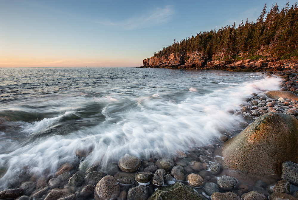 Waves Crashing over Boulder Beach in Acadia National Park.