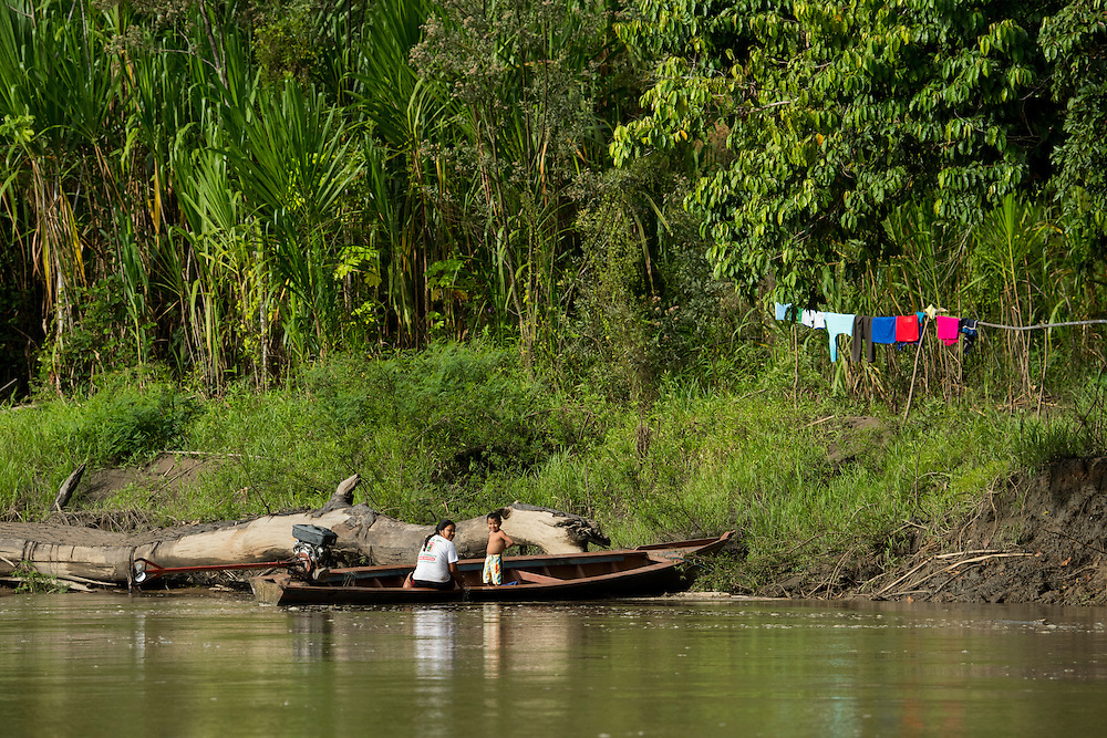South America, Peru, Amazonia,South Manu National Park , people along madre de dios river