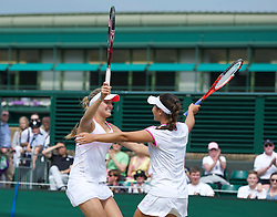 LONDON, ENGLAND - Sunday, July 3, 2011: Eugenie Bouchard (CAN) celebrates winning the Girls' Doubles Final match with partner Grace Min (USA) on day thirteen of the Wimbledon Lawn Tennis Championships at the All England Lawn Tennis and Croquet Club. (Pic by David Rawcliffe/Propaganda)