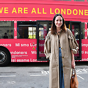 Serafina Sama from Italy attend The Mayor of London, Sadiq Khan, launch a branded 'We are all Londoners' bus as it begins a four-day 'Advice Roadshow' around the capital. The bus will visit locations in areas with high numbers of European nationals, offering them guidance on how to apply for Settled to Status to remain in the UK following Brexit on 29 March 2019, London, UK.