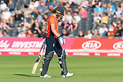 Wicket - Natalie Sciver of England looks dejected as she walks back to the pavilion after being dismissed by Tayla Vlaeminck of Australia during the 3rd Vitality International T20 match between England Women Cricket and Australia Women at the Bristol County Ground, Bristol, United Kingdom on 31 July 2019.