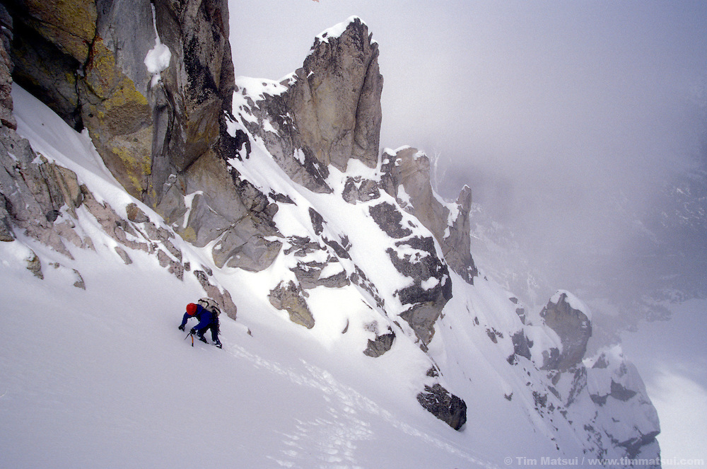 Dan Aylward near the top of Triple Couloirs, Dragontail Peak, Washington.