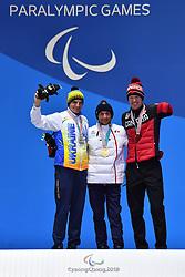DAVIET Benjamin FRA LW2, REPTYUKH Ihor UKR LW8, ARENDZ Mark CAN LW6, ParaBiathlon, Para Biathlon, Podium at  the PyeongChang2018 Winter Paralympic Games, South Korea.