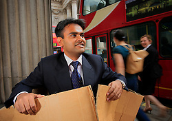UK ENGLAND LONDON 27AUG09 - Equities analyst Ashish Kumar of India poses for a photo at the Bank of England, city of London. Mr Kumar was hired by Lehman Brothers and relocated to London two months before the company collapsed in the world's biggest bankruptcy sending shockwaves through the financial industry...jre/Photo by Jiri Rezac..© Jiri Rezac 2009