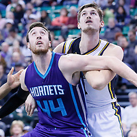 27 January 2016: Charlotte Hornets center Frank Kaminsky III (44) vies for the rebound with Utah Jazz center Jeff Withey (24) during the Utah Jazz 102-73 victory over the Charlotte Hornets, at the Vivint Smart Home Arena, Salt Lake City, Utah, USA.