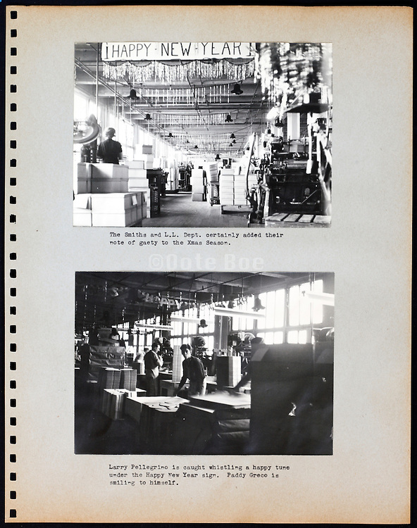 page from a photo album with factory workers Christmas USA 1945