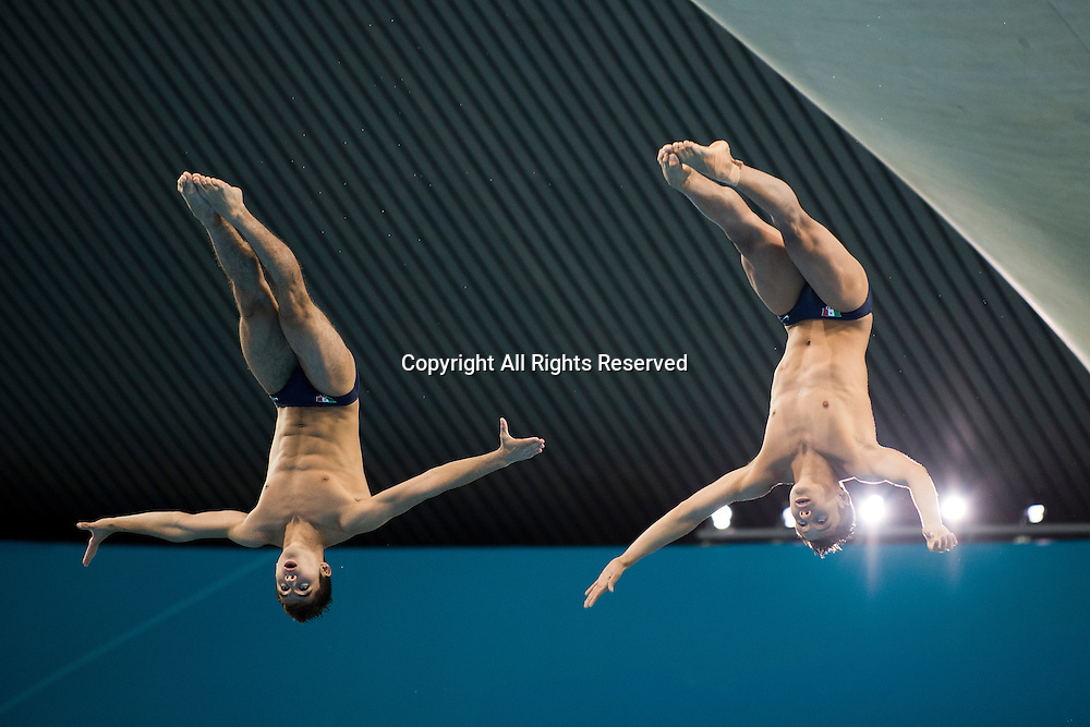 30.07.2012. London, England. Mexico's German Sanchez Sanchez (MEX) and Ivan Garcia Navarro (MEX) compete in the Mens Synchronised 10m Platform Diving Final going on to win the Silver Medal on Day 3 of the London 2012 Olympic Games at the Aquatics Centre on the Olympic Park.