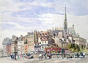 Sainte-Chapelle and the Palais de Justice by the Quay Pont Saint-Michel'. Watercolour. Charles Claude Pyne (1802-1878) English landscape and genre painter.  Paris, France