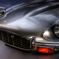 Close up of classic car. Jaguar E-Type in silver
