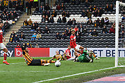 Hull City forward Fraizer Campbell (25) just missing the ball during the EFL Sky Bet Championship match between Hull City and Bristol City at the KCOM Stadium, Kingston upon Hull, England on 5 May 2019.