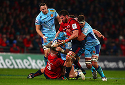 Jack Nowell of Exeter Chiefs is tackled by John Ryan and Jean Kleyn of Munster Rugby - Mandatory by-line: Ken Sutton/JMP - 19/01/2019 - RUGBY - Thomond Park - Limerick,  - Munster Rugby v Exeter Chiefs -