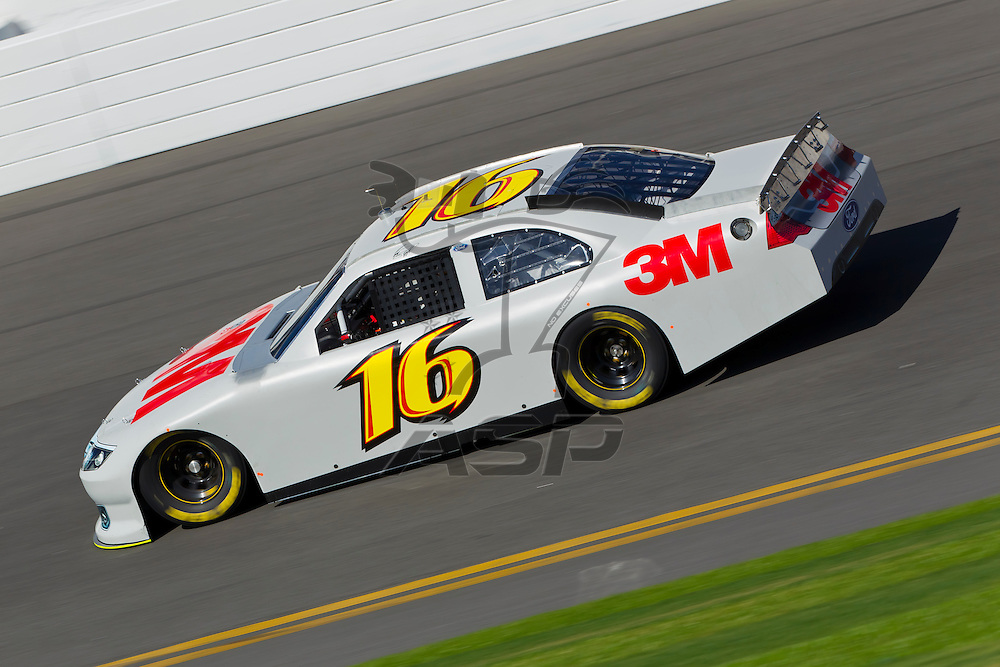 12 January, 2012:   Greg Biffle (16) brings his 3M Ford down the front stretch during open testing for the NASCAR Sprint Cup Series at the Daytona International Speedway in Daytona Beach, FL.