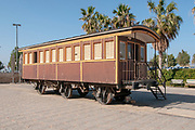 old train coach at the Tel Aviv, Neve Tzedek, Hatachana complex, a renovated Ottoman train station that was originally built to serve Jaffa