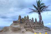 A sand castle on the beach in Cartagena, Colombia