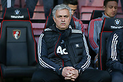 Manchester United Manager Jose Mourinho during the Premier League match between Bournemouth and Manchester United at the Vitality Stadium, Bournemouth, England on 18 April 2018. Picture by Phil Duncan.