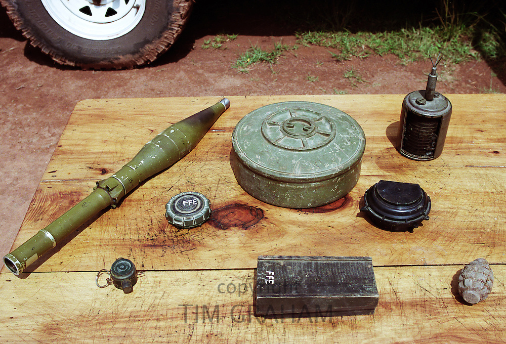 Recovered landmines on display at Neves Bendinha, an International Committee of the Red Cross, ICRC, Orthopaedic Workshop In Luanda, Angola