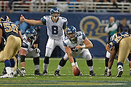 Seattle quarterback Matt Hasselbeck (8) calls a play during game action against St. Louis at the Edward Jones Dome in St. Louis, Missouri, October 9, 2005.  The Seahawks beat the Rams 37-31.