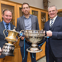 All Ireland Winning Dublin Manager Jim Gavin with the Clare Football Captain, Gary Brennan, Cooraclare Minor Manager Martin Morrissey