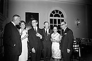 """16/06/1967<br /> 06/16/1967<br /> 16 June 1967<br /> General Assembly of the Wine and Spirit Federation Farewell dinner at the Hibernian Hotel, Dublin, that ended the 1967 General Assembly of the Federation Internationale des Industries et du Commerce en Gros des Vines, Spiriteux, Eaux-de-vie, et Liqueurs, held in Dublin for the first time.Picture shows (l-R): Mr Austen Boyd, Managing Director """"Old Bushmills Distillery Co. Ltd.""""; Mrs Alexandre Zulas; Mr. A.C. Crichton, Chairman and Managing Director of James Jameson and Sons Ltd.; Mr Michael O'Reilly, P.R.O. Irish Whiskey Distillers Association; Mrs John O'Meara and Mr Alexandre Zulas, Federation of Greek Industries and new Vice-President of the International Federation."""