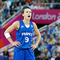09 August 2012: France Celine Dumerc yells during 81-64 Team France victory over Team Russia, during the women's basketball semi-finals, at the 02 Arena, in London, Great Britain.