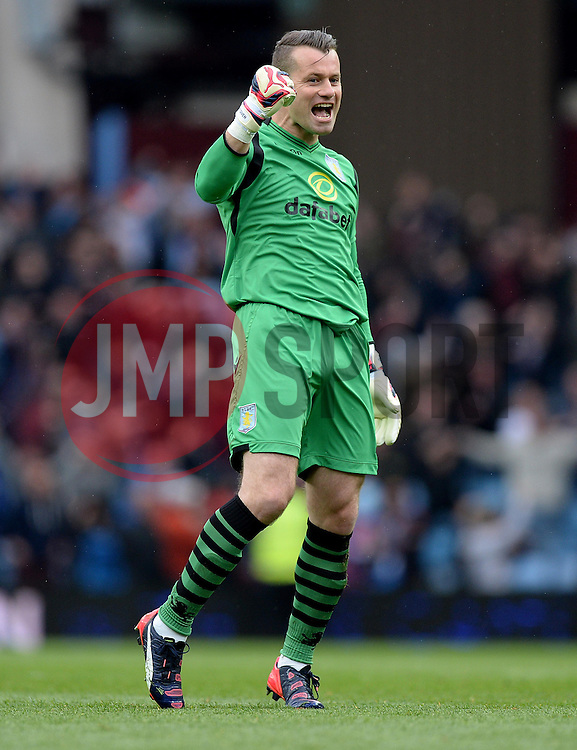 Aston Villa's Brad Guzan celebrates Aston Villa's Christian Benteke second goal of the game. - Photo mandatory by-line: Alex James/JMP - Mobile: 07966 386802 - 02/05/2015 - SPORT - Football - Birmingham - Villa Park - Aston Villa v Everton - Barclays Premier League