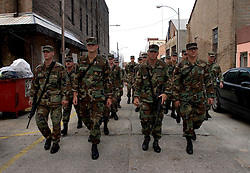 30 Sept, 2005.  New Orleans, Louisiana. Hurricane Katrina aftermath. <br /> Troops maintain patrols near the convention center in the Central Business District.<br /> Photo; ©Charlie Varley/varleypix.com