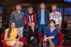 "15.01.2016, WDR Studios, Koeln, GER, Settermin, Kölner Treff, WDR Fernsehen, im Bild Gruppenbild mit hvl: Max Giermann, Bettina Boettinger, Steffen Halaschka, Heiko Ruprecht, vvr: Saliha ""Sally"" Oezcan, Nicole Rinder und Janina Hartwig // during a photocall for the German TV Station ""WDR"" Serie ""Koelner Treff"" at the WDR Studios in Koeln, Germany on 2016/01/15. EXPA Pictures © 2016, PhotoCredit: EXPA/ Eibner-Pressefoto/ Schüler<br /> <br /> *****ATTENTION - OUT of GER*****"