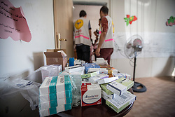 © Licensed to London News Pictures. 21/07/2014. Gaza. Medical supplies stored in a room as Refugees including women and children caught in the conflict between Israel and Hamas receive medical treatment at a UN school being used as a hospital on the edge of the Jabalaya district of Gaza. The health of Children is suffering with some not eating and sleeping as a result of the conflict. Skin conditions, infection and gastro problems are increasing amongst the young.   As the Israel/Gaza conflict intensifies the number of displaced people has now risen to over 47,000 (Source - UNRWA). Photo credit : Alison Baskerville/LNP