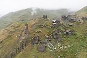 The village of Kvavlo overlooks Dartlo in Tusheti National Park, Kakheti, Georgia.